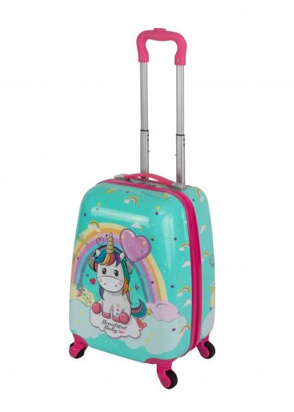 """Travelhouse Happy Childreen Kinder Koffer """"Pink Unicorn - Mädchen Koffer Einhorn"""" Bordkoffer ABS Hartschale Reisegepäck Reisetrolley Trolley Handgepäckkoffer Klein Kabinenkoffer 27L"""