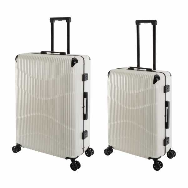 Travelhouse New York Wave Koffer Weiß M-65cm & L-75cm Alu-Rahmen Polycarbonat Hartschale Reisetrolley Suitecase Trolley Koffer Set