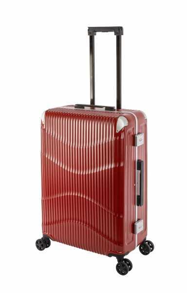 Travelhouse New York Wave Koffer Rot M-65cm Alu-Rahmen Polycarbonat Hartschale Reisetrolley Suitecase Trolley 2X TSA Zahlenschloss 4 Doppelräder 360° Rollen Markenqualität Vol. 65L