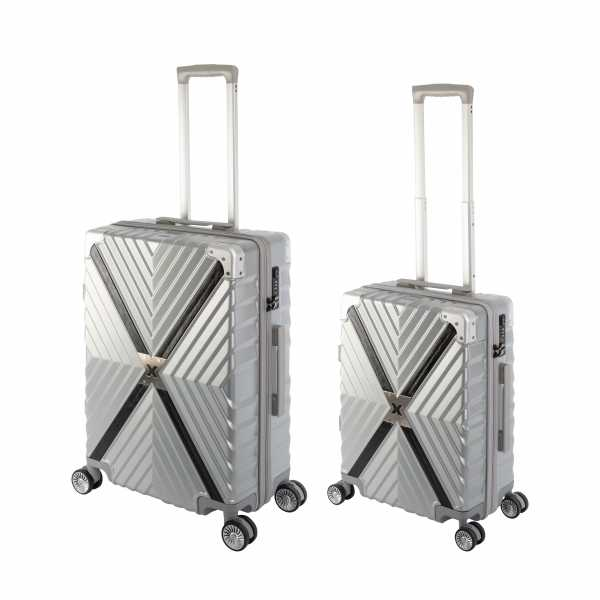 Travelhouse Miami X Zip Koffer Silber S-55cm & M-65cm robuste Polycarbonat Hartschale Reise Trolley Koffer Set