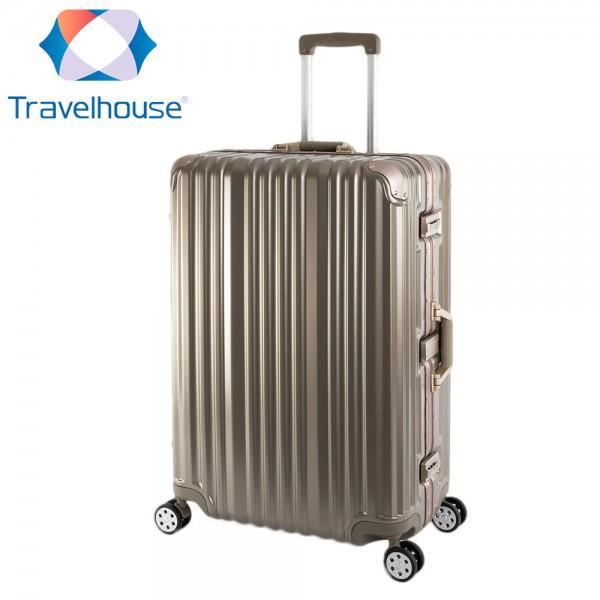Travelhouse London - Hartschalen Polycarbonat Alu Koffer Trolley Reise Urlaub 90l gold
