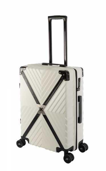 Travelhouse Miami X Zip Koffer Weiß M-65cm Polycarbonat Hartschale Reisetrolley Suitecase Trolley 2X TSA Zahlenschloss 4 Doppelräder 360° Rollen Markenqualität Vol. 62L