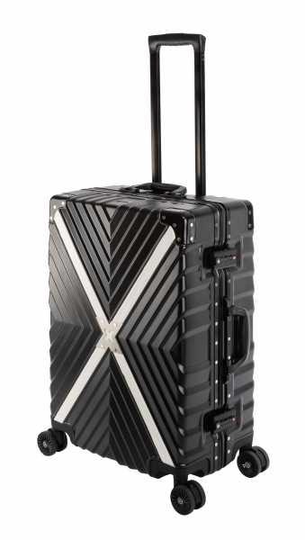 Travelhouse Miami X Cross Koffer Schwarz M-65cm Alu-Rahmen Polycarbonat Hartschale Reisetrolley Suitecase Trolley 2X TSA Zahlenschloss 4 Doppelräder 360° Rollen Markenqualität Vol. 70L