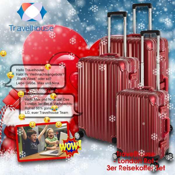 Koffer - Travelhouse London - Farbe: Rot - 3er Reisekoffer, Trolley Set