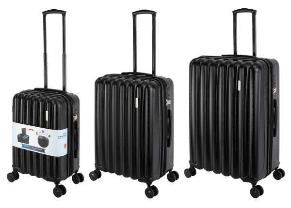 Travelhouse Porto Reisekoffer Schwarz S-55cm & M-66cm & L-76cm Hartschalenkoffer Reise Trolley Koffer Set