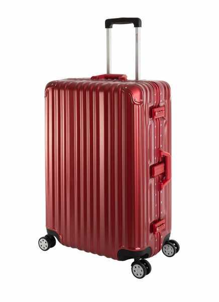 Travelhouse London Koffer Rot - 75cm Alu Rahmen Polykarbonat Hartschale Trolley Reisekoffer Reisegepäck 2X TSA Zahlenschloss 4 Doppelräder 360°Rollen Marken-Qualität Vol. 108L