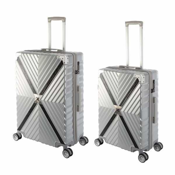 Travelhouse Miami X Zip Koffer Silber M-65cm & L-75cm robuste Polycarbonat Hartschale Reise Trolley Koffer Set