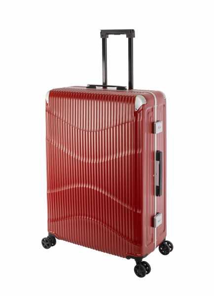 Travelhouse New York Wave Koffer Rot L-75cm Alu-Rahmen Polycarbonat Hartschale Reisetrolley Suitecase Trolley 2X TSA Zahlenschloss 4 Doppelräder 360° Rollen Markenqualität Vol. 94L
