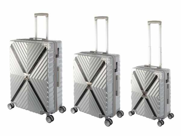 Travelhouse Miami X Zip Koffer Silber S-55cm & M-65cm & L-75cm robuste Polycarbonat Hartschale Reise Trolley Koffer Set