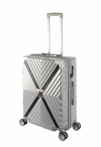 Travelhouse Miami X Zip Koffer Silber M-65cm Polycarbonat Hartschale Reisetrolley Suitecase Trolley 2X TSA Zahlenschloss 4 Doppelräder 360° Rollen Markenqualität Vol. 62L