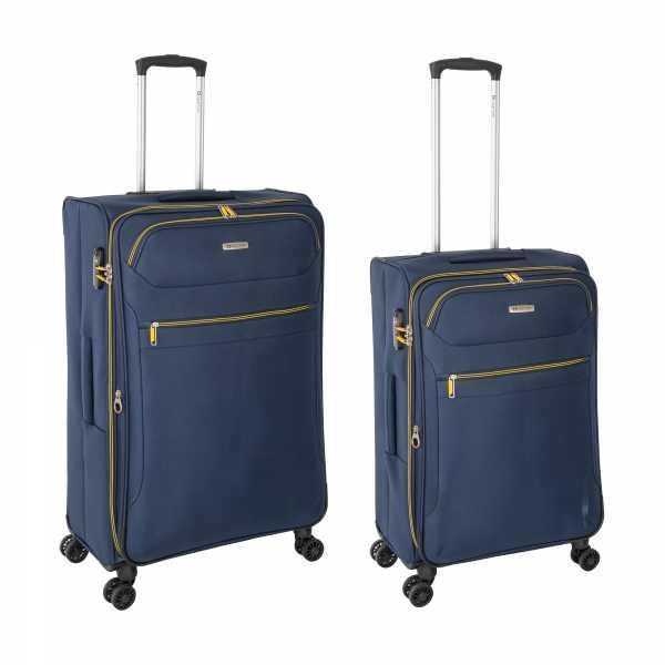 Tropea High Density Weichgepäck Koffer Blau M-67cm & L-78cm 4Rollen TSA Schlösser Reisekoffer Set