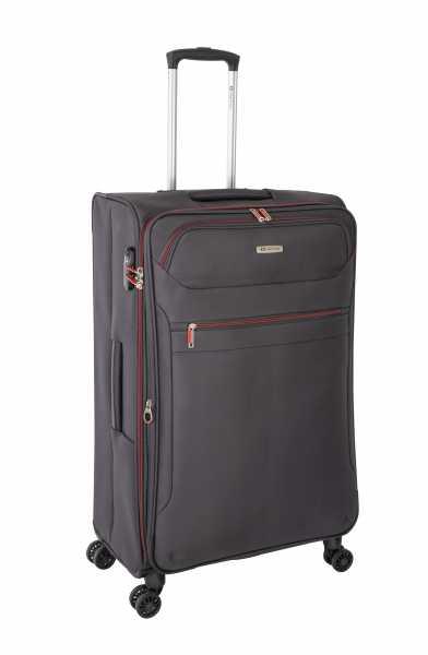 Tropea High Density Weichgepäck Koffer Grau L-78cm Reisetrolley Suitecase Trolley TSA Zahlenschloss 4 Doppelräder 360° Rollen Markenqualität Vol. 91L Erweiterbar Vol.108L