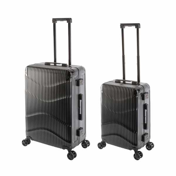 Travelhouse New York Wave Koffer Schwarz S-55cm & M-65cm Alu-Rahmen Polycarbonat Hartschale Reisetrolley Suitecase Trolley Koffer Set