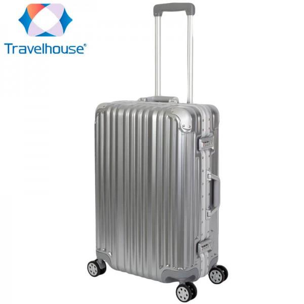 TRAVELHOUSE London Trolley Reisekoffer Reisegepäck ✔ M 65cm, 67L ✔integriertes TSA Schloss ✔360° Doppelzwillingsrollen ✔Polycarbonat-Hartschale ✔Aluminium Rahmen