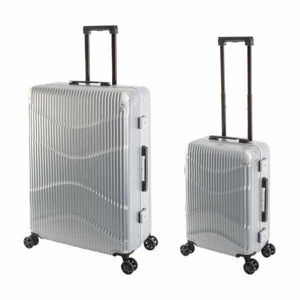 Travelhouse New York Wave Koffer Silber S-55cm & L-75cm Alu-Rahmen Polycarbonat Hartschale Reisetrolley Suitecase Trolley Koffer Set