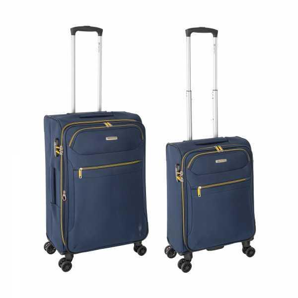 Tropea High Density Weichgepäck Koffer Blau S-55cm & M-67cm 4Rollen TSA Schlösser Reisekoffer Set