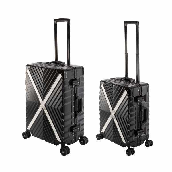 Travelhouse Miami X Cross Koffer Schwarz S-55cm & M-65cm Alu Rahmen Reisekoffer Hartschalenkoffer Set