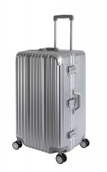 Travelhouse London Koffer Sport Silber - XL Alu Rahmen Polykarbonat Hartschale · Trolley Reisekoffer Reisegepäck · 2X TSA Zahlenschloss · 4 Doppelräde