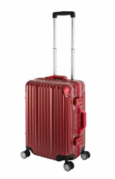 Travelhouse London Koffer Rot S-55cm Bordkoffer Alu Rahmen Polykarbonat Hartschale Reisegepäck Reisetrolley Trolley Handgepäckkoffer Kabinenkoffer 2X TSA Zahlenschloss Handgepäck 47L