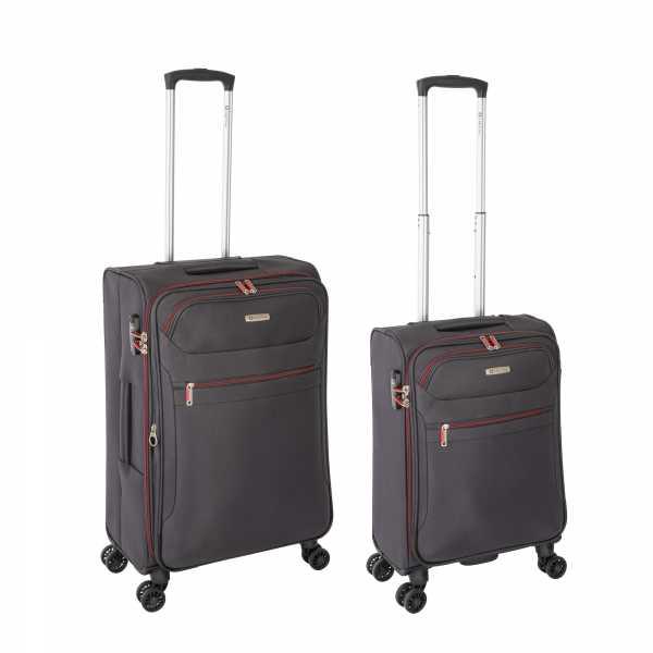 Tropea High Density Weichgepäck Koffer Grau S-55cm & M-67cm 4Rollen TSA Schlösser Reisekoffer Set