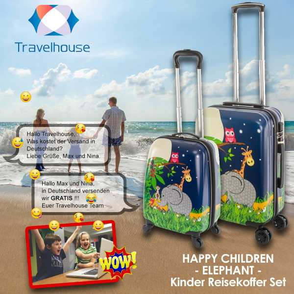 Travelhouse Happy Childreen Kinder Koffer Elephant ABS Hartschale Reisegepäck Reisetrolley Trolley Kinderkoffer Kindertrolley 27L+ 41L Bordkoffer und Koffer Set