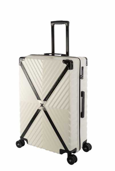 Travelhouse Miami X Zip Koffer Weiß L-75cm Polycarbonat Hartschale Reisetrolley Suitecase Trolley 2X TSA Zahlenschloss 4 Doppelräder 360° Rollen Markenqualität Vol. 90L