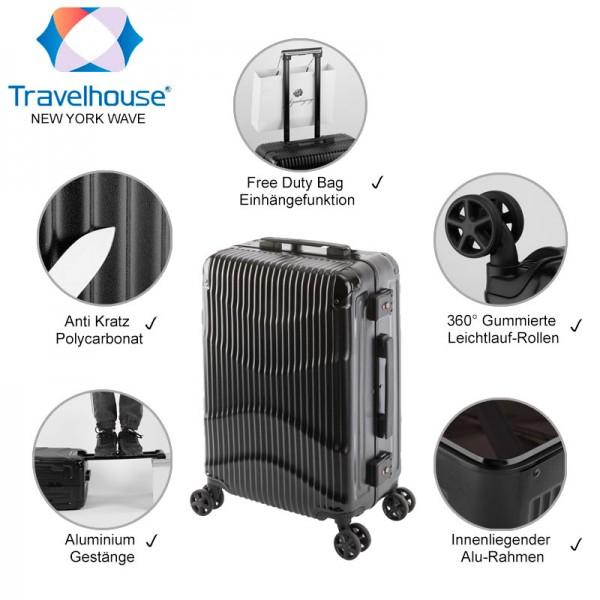 Travelhouse New York Wave Handgepäck-Koffer Schwarz