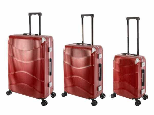 Travelhouse New York Wave Koffer Rot S-55cm & M-65cm & L-75cm Alu-Rahmen Polycarbonat Hartschale Reisetrolley Suitecase Trolley Koffer Set