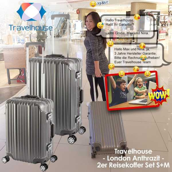 Koffer - Travelhouse London - Anthrazit - 2er Set Handgepäck & Reisekoffer M - Perfekt für den Urlaub 2021