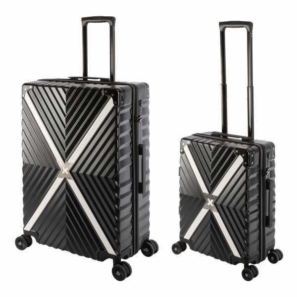 Travelhouse Miami X Zip Koffer Schwarz S-55cm & L-75cm robuste Polycarbonat Hartschale Reise Trolley Koffer Set