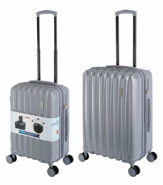 Travelhouse Porto Reisekoffer Silber S-55cm & M-66cm Hartschalenkoffer Reise Trolley Koffer Set