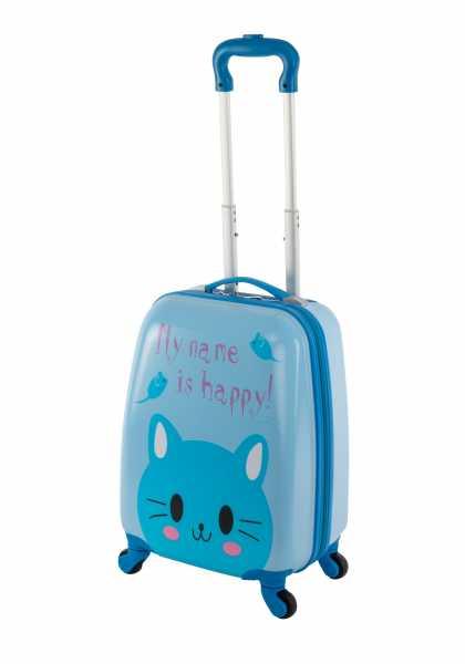 Travelhouse Happy Childreen Kinder Koffer Blue Cat Bordkoffer ABS Hartschale Reisegepäck Reisetrolley Trolley Handgepäckkoffer Kabinenkoffer 27L