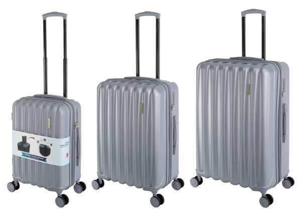 Travelhouse Porto Reisekoffer Silber S-55cm & M-66cm & L-76cm Hartschalenkoffer Reise Trolley Koffer Set