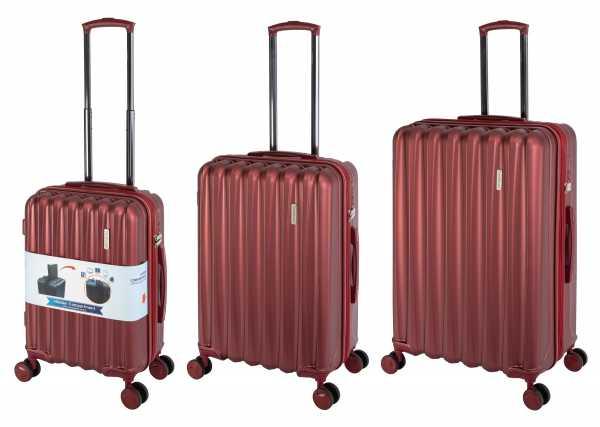 Travelhouse Porto Reisekoffer Rubin-Rot S-55cm & M-66cm & L-76cm Hartschalenkoffer Reise Trolley Koffer Set