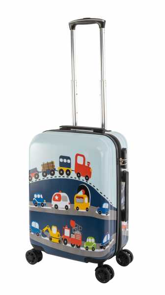 Travelhouse Happy Childreen Kinder Koffer Busy Cars ABS Hartschale Reisegepäck Reisetrolley Trolley Kinderkoffer Kindertrolley 41L
