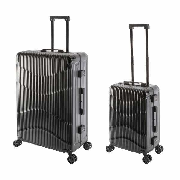 Travelhouse New York Wave Koffer Schwarz S-55cm & L-75cm Alu-Rahmen Polycarbonat Hartschale Reisetrolley Suitecase Trolley Koffer Set