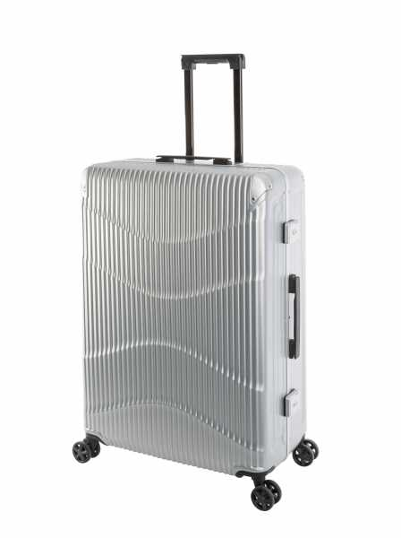 Travelhouse New York Wave Koffer Silber L-75cm Alu-Rahmen Polycarbonat Hartschale Reisetrolley Suitecase Trolley 2X TSA Zahlenschloss 4 Doppelräder 360° Rollen Markenqualität Vol. 94L