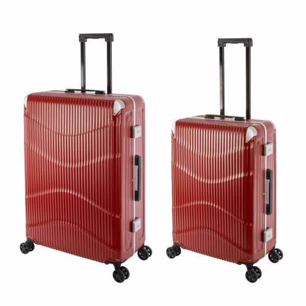 Travelhouse New York Wave Koffer Rot M-65cm & L-75cm Alu-Rahmen Polycarbonat Hartschale Reisetrolley Suitecase Trolley Koffer Set