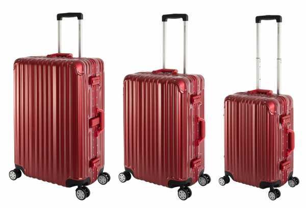 Travelhouse London Koffer Rot S-55cm, M-65cm, L-77cm 3er-Set Alu Rahmen Polykarbonat Hartschale Reisegepäck Reisetrolley Trolley Reisekoffer Marken-Qualität Vol. S-44L M-67L L-108L