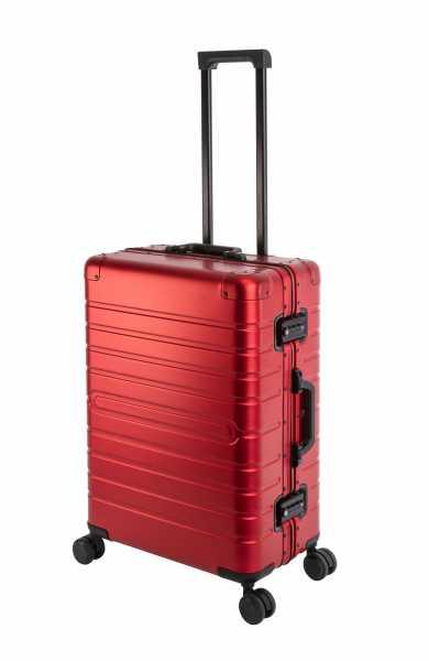 Travelhouse Oslo Alu Reisekoffer Rot M-65cm Hartschalenkoffer Reisetrolley Suitecase Trolley 2X TSA Zahlenschloss 4 Doppelräder 360° Rollen Markenqualität Vol. 70L