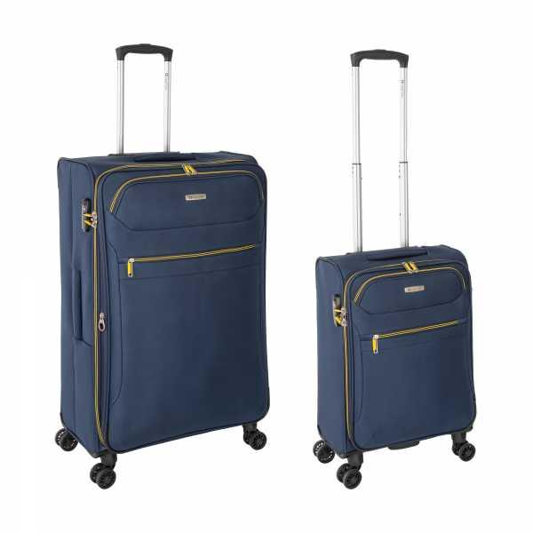 Tropea High Density Weichgepäck Koffer Blau S-55cm & L-78cm 4Rollen TSA Schlösser Reisekoffer Set