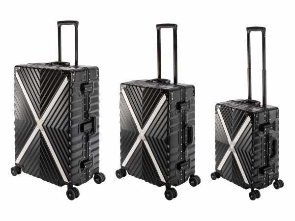 Travelhouse Miami X Cross Koffer Schwarz S-55cm & M-65cm & L-75cm Alu Rahmen Reisekoffer Hartschalenkoffer Set