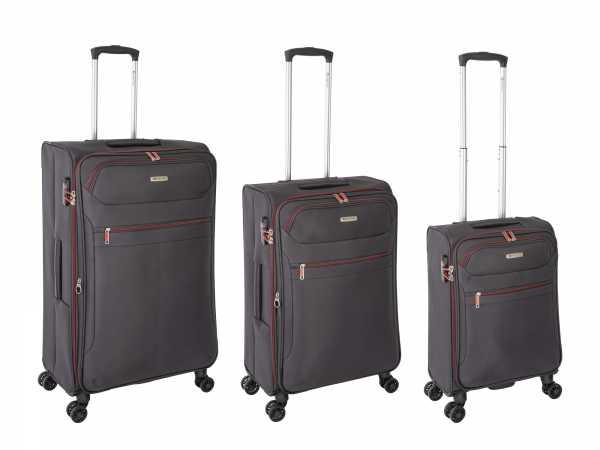 Tropea High Density Weichgepäck Koffer Grau S-55cm & M-67cm & L-78cm 4Rollen TSA Schlösser Reisekoffer Set