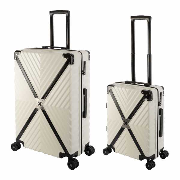 Travelhouse Miami X Zip Koffer Blau S-55cm & L-75cm robuste Polycarbonat Hartschale Reise Trolley Koffer Set