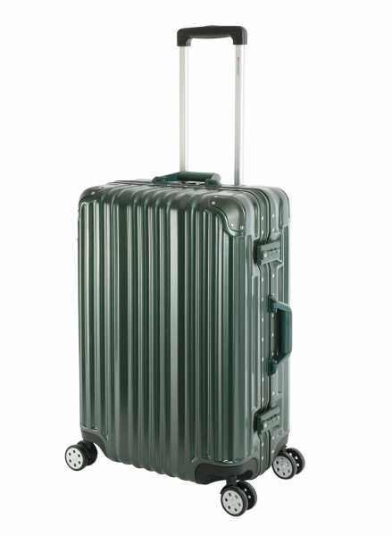 Travelhouse London Koffer Grün M-65cm Alu Rahmen Polycarbonat Hartschale Reisetrolley Suitecase Trolley 2X TSA Zahlenschloss 4 Doppelräder 360°Rollen Marken-Qualität Vol. 67L