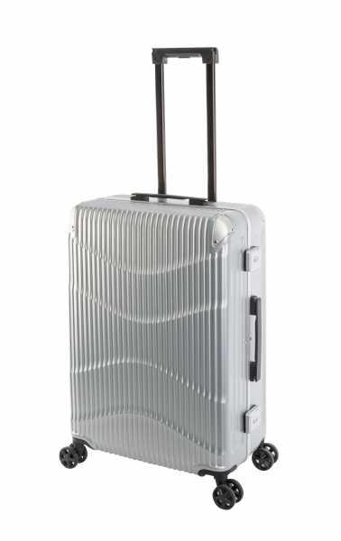 Travelhouse New York Wave Koffer Silber M-65cm Alu-Rahmen Polycarbonat Hartschale Reisetrolley Suitecase Trolley 2X TSA Zahlenschloss 4 Doppelräder 360° Rollen Markenqualität Vol. 65L