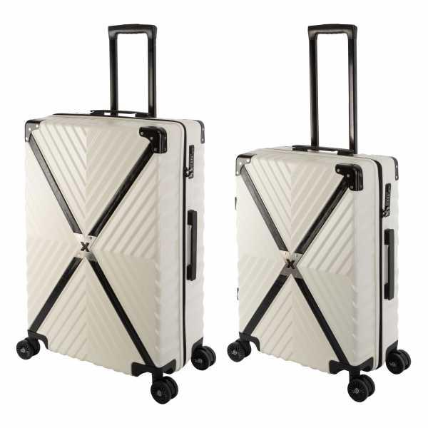 Travelhouse Miami X Zip Koffer Blau M-65cm & L-75cm robuste Polycarbonat Hartschale Reise Trolley Koffer Set