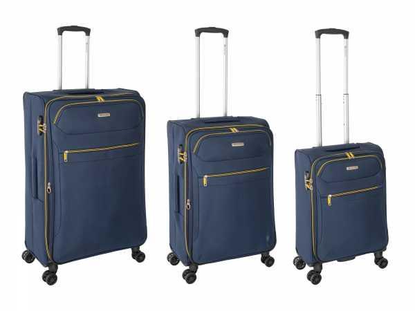 Tropea High Density Weichgepäck Koffer Blau S-55cm & M-67cm & L-78cm 4Rollen TSA Schlösser Reisekoffer Set
