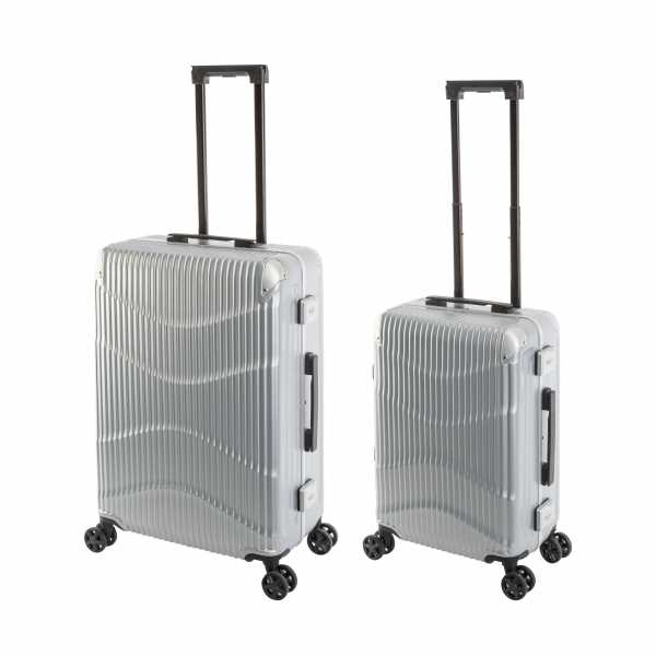 Travelhouse New York Wave Koffer Silber S-55cm & M-65cm Alu-Rahmen Polycarbonat Hartschale Reisetrolley Suitecase Trolley Koffer Set