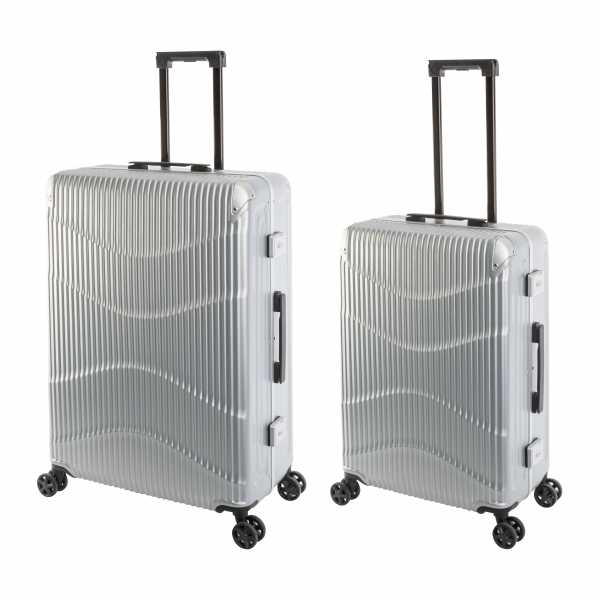 Travelhouse New York Wave Koffer Silber M-65cm & L-75cm Alu-Rahmen Polycarbonat Hartschale Reisetrolley Suitecase Trolley Koffer Set